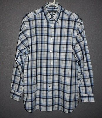 Daniel Cremieux 100% Cotton Blue Gray Stripped Button Down Shirt sz Mediuim