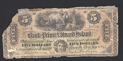 Scarce   1877 Bank of Prince Edward Island $5  PEI Canada Currency Overprint