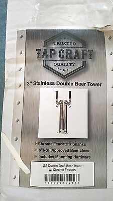 "Tap Craft 3"" Stainless Double Beer Tower - New!"