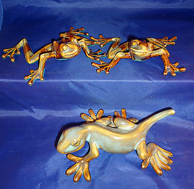 Two Gold Trimmed Ceramic Frogs and One Salamander -b1