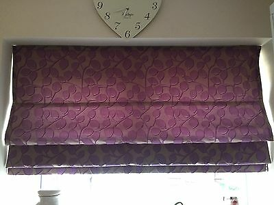 Purple Leaf Made To Measure Fully Lined Roman Blind With Rail
