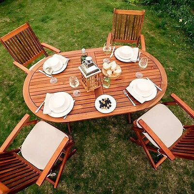 Garden Dining Table Large Natural Wooden Folding Oval Parasol Hole 6 Person