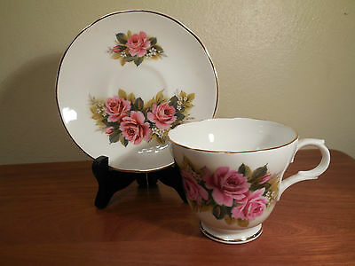 Crown Trent Staffordshire Pink Roses Floral Tea Cup & Saucer Set white