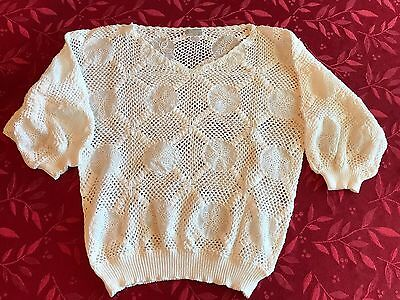 Vintage 1980's Women's 2 Piece White Crocheted Sweater and Skirt Set 100% Cotton
