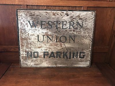 Antique Western Union Wood Telegraph Sign