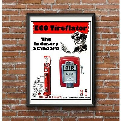Eco Tireflator 1950's Poster - John Wood Bennett Pump Division Muskegon Michigan