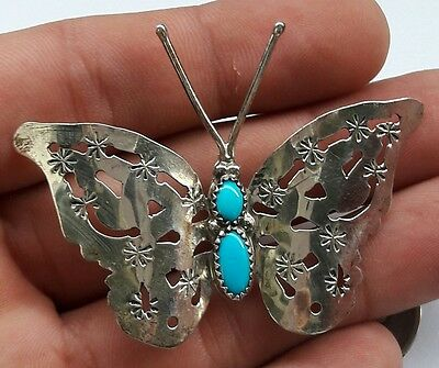 """Signed FY NAVAJO Pierced Sterling Silver Turquoise BUTTERFLY PIN/BROOCH 2-1/2"""""""