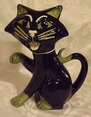 Rare Lorna Bailey Cat SCAREDY TEAPOT Large  signed in Black