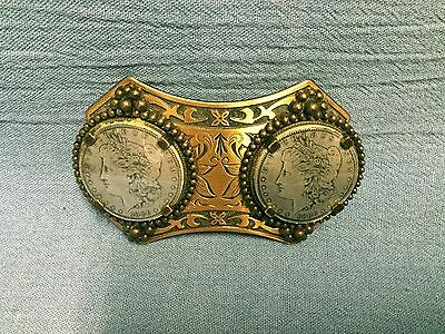 Copper tone Western Double Silver Dollar Belt Buckle No Coins