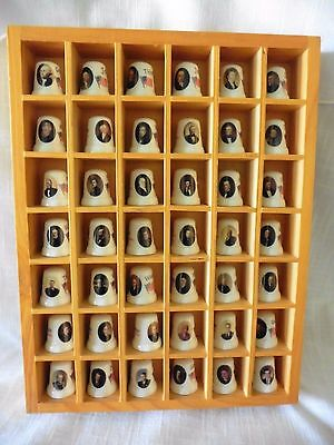 U.s. Presidential Thimble Set In Wooden Case Presidents 1-42
