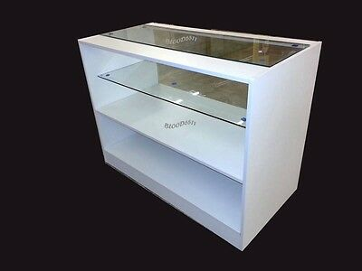 White Glass Shop counter ,shop Display unit in white ,free delivery