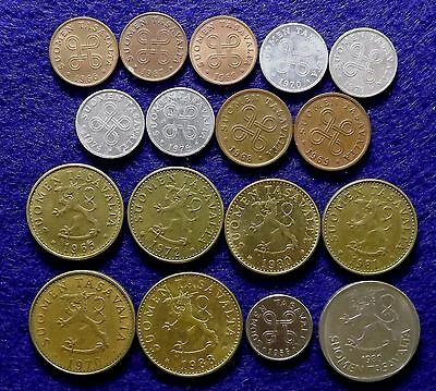 FINLAND - Lot of 17 Mixed Coins 1956 to 1986  (#949)