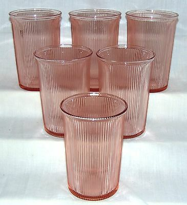 "6 Jeannette HOMESPUN PINK *4 1/8"" FLARED WATER TUMBLERS w/PLAIN BOTTOM*"