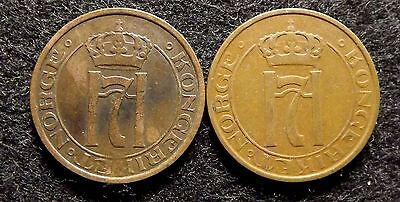 Norway 2 Ore 1928 & 1937 - Two VF Bronze Coins, KM# 371 (#689)