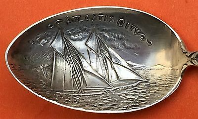 Ornate Atlantic City Sailing Boats New Jersey Sterling Silver Souvenir Spoon
