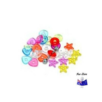 1pc NEW AUS Barbell Donut, Stars, Hearts. Body Jewellery Parts