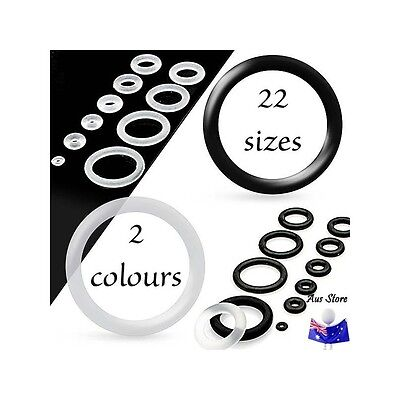 1pc NEW AUS PAIR Silicone O-Ring 0.5mm - 22mm. Body Jewellery Parts