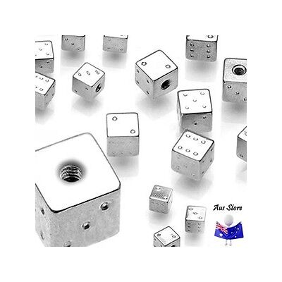 1pc NEW AUS Steel Dice Threaded End 16G 14G. Body Jewellery Parts