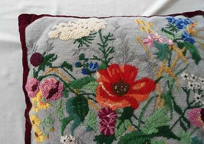 Vintage Flower Bouquet Needlepoint Embroidered Throw Pillow French Knots Velvet