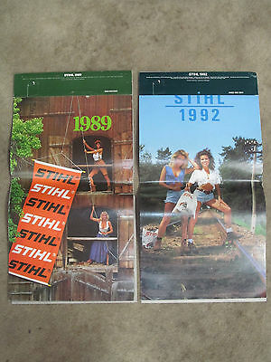 Stihl Calendars Lot of 2 Vintage 1992 and 1989 Woman Chainsaw
