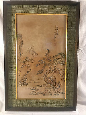 Antique Chinese Painting On Silk Of Mountains Village Trees Asian