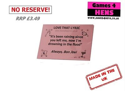 Love That Lyric Hen Do Party Games Pink Cards Bride Night Ice Breaker 20 Pcs