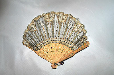 "Antique Ladies 19th Century French Small Fan Gray & Silver Sequins Wood 6 3/4""L"