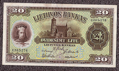 20 Litu Lithuania Paper Money C363276  1930 XF++/AUNC  Good Condition