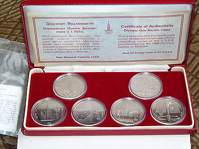6 x 1 Rubles Rouble Russian 1980 Olympic Games in Moscow 1977 1978 1979  in boxe