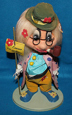 Vintage Spanish Felt and Plastic Standing Hobo / Clown Doll with Message Sign