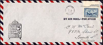 1946 First Official Airmail Flight Ottawa Chicago