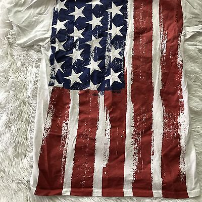 Unisex White 4th of July Shirt Size Small American Flag Crew Neck T Tee