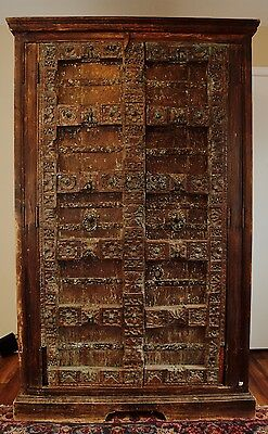 Antique Gothic French 19th Century Hutch Armoire Closet Wardrobe Wood Turquoise