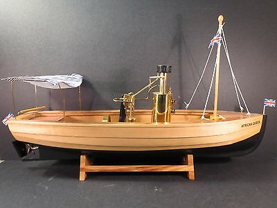 Wilesco African Queen model D70, live steam all wood boat, original box, papers