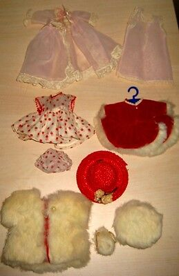 Lot of Vintage 50's GINGER Doll CLOTHES Cosmopolitan RED SKATER DRESS FUR COAT