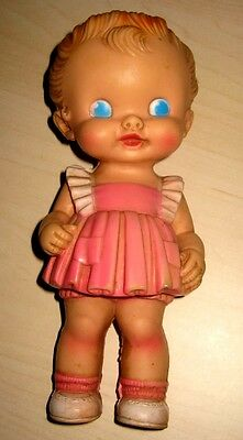 """VINTAGE 8.5"""" SUN RUBBER RUTH E. NEWTON DOLL IN PINK DRESS w/SQUEAKER WORKS"""