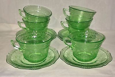 6 Federal PATRICIAN GREEN *CUPS & SAUCERS*