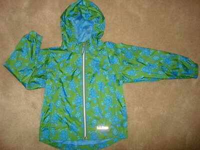 LL Bean Discovery Boys  Rain Jacket Blue Green with Turtles size 6/7 EUC