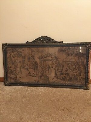 Large Authentic Antique Tapestry, French Colonial Scene, Framed
