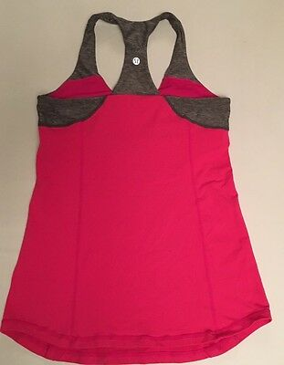 Lululemon Size 8 Pink Gray Heathered Run Yoga Fitness Tank Top Woman