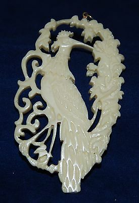 Antique Chinese Carved Peacock Pendant
