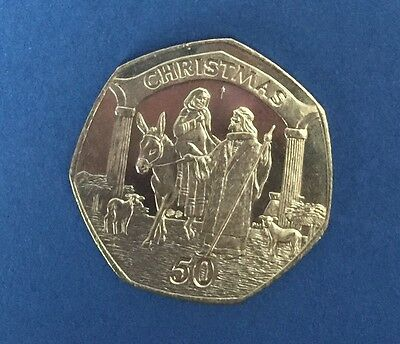 2003 Gibraltar Christmas Coin 50p Fifty Pence Coin Marry & Joseph UNC