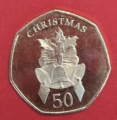 2012 Gibraltar 50P Christmas Coin Bells UNC Fifty Pence