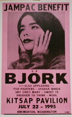Björk Concert Poster - 1995 Jampac Benefit w/ Foo Fighters Afghan Whigs