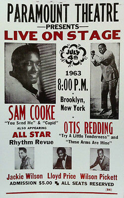 "Sam Cooke & Otis Redding Concert Poster - 1963 w/ Wilson Pickett ... - 14""x22"""