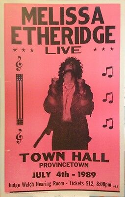"""Melissa Etheridge Concert Poster 1989 Live at Town Hall Provincetown 14""""x22"""""""