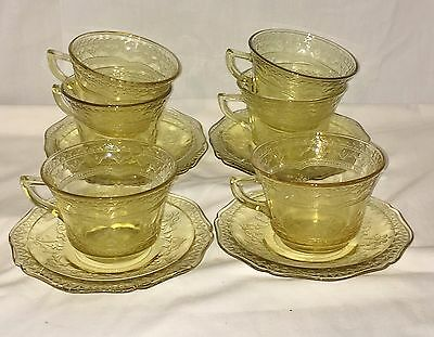 6 Federal PATRICIAN AMBER *CUPS & SAUCERS*