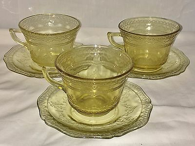3 Federal PATRICIAN AMBER *CUPS & SAUCERS*