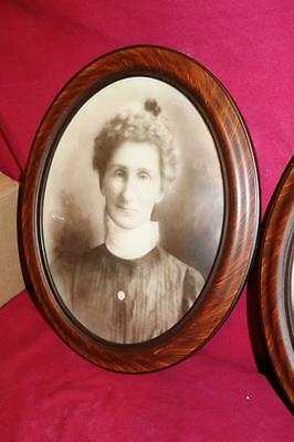 """1910s 20s  Antique PAIR DOMED CONVEX BUBBLE GLASS PAINTED WOOD  FRAMES  16"""" x 13"""