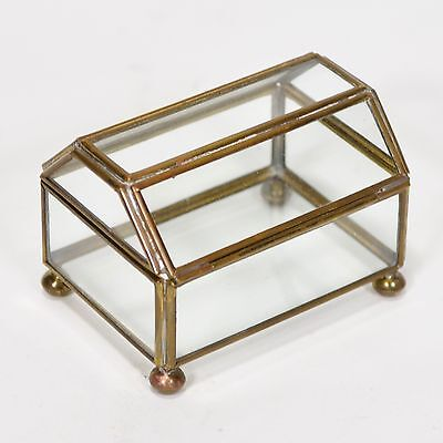 Mexico Brass & Glass Footed Display Box- Shaped Lid